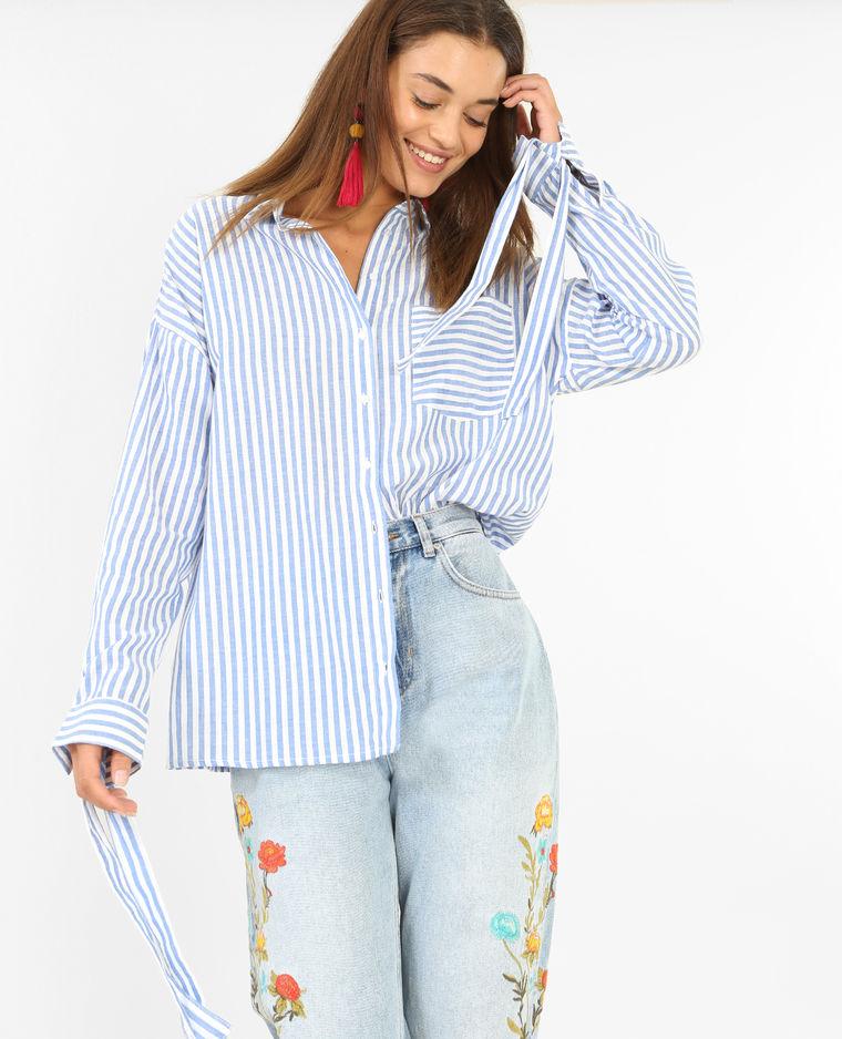 Chemise à rayures à poignets noués